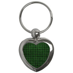 Woven1 Black Marble & Green Leather (r) Key Chains (heart)