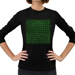 Woven1 Black Marble & Green Leather (r) Women s Long Sleeve Dark T Shirts