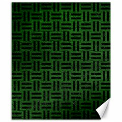 Woven1 Black Marble & Green Leather (r) Canvas 8  X 10