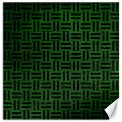 Woven1 Black Marble & Green Leather (r) Canvas 20  X 20