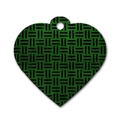 Woven1 Black Marble & Green Leather (r) Dog Tag Heart (one Side)