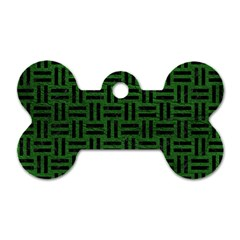 Woven1 Black Marble & Green Leather (r) Dog Tag Bone (one Side)