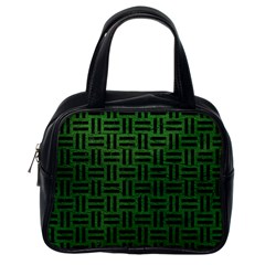 Woven1 Black Marble & Green Leather (r) Classic Handbags (one Side)