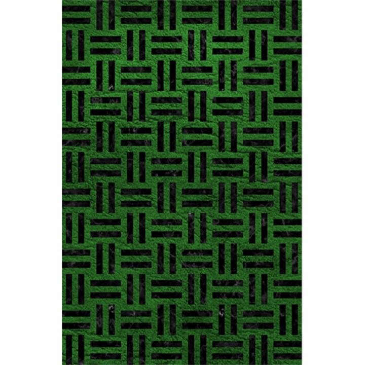 WOVEN1 BLACK MARBLE & GREEN LEATHER (R) 5.5  x 8.5  Notebooks