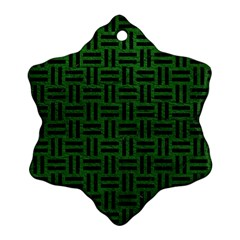 Woven1 Black Marble & Green Leather (r) Snowflake Ornament (two Sides)