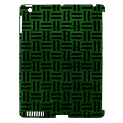 Woven1 Black Marble & Green Leather (r) Apple Ipad 3/4 Hardshell Case (compatible With Smart Cover)