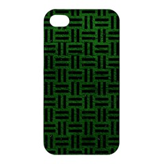 Woven1 Black Marble & Green Leather (r) Apple Iphone 4/4s Premium Hardshell Case