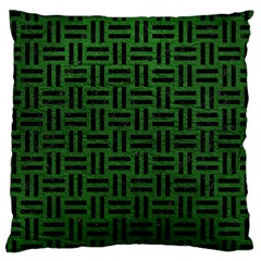 Woven1 Black Marble & Green Leather (r) Large Cushion Case (one Side)