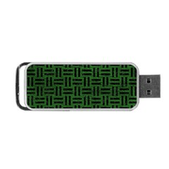 Woven1 Black Marble & Green Leather (r) Portable Usb Flash (one Side)