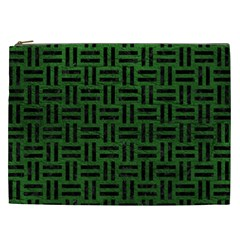 Woven1 Black Marble & Green Leather (r) Cosmetic Bag (xxl)