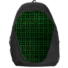 Woven1 Black Marble & Green Leather (r) Backpack Bag