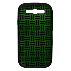 Woven1 Black Marble & Green Leather (r) Samsung Galaxy S Iii Hardshell Case (pc+silicone)