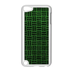 Woven1 Black Marble & Green Leather (r) Apple Ipod Touch 5 Case (white)