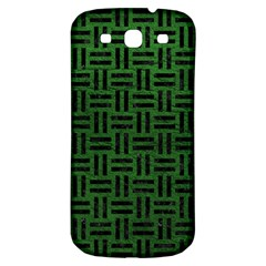 Woven1 Black Marble & Green Leather (r) Samsung Galaxy S3 S Iii Classic Hardshell Back Case