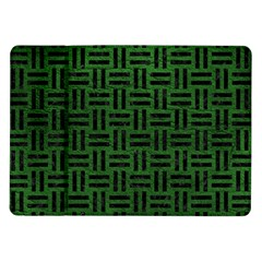 Woven1 Black Marble & Green Leather (r) Samsung Galaxy Tab 10 1  P7500 Flip Case