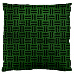 Woven1 Black Marble & Green Leather (r) Standard Flano Cushion Case (two Sides)