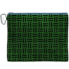 Woven1 Black Marble & Green Leather (r) Canvas Cosmetic Bag (xxxl)