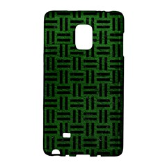 Woven1 Black Marble & Green Leather (r) Galaxy Note Edge