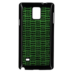 Woven1 Black Marble & Green Leather (r) Samsung Galaxy Note 4 Case (black)