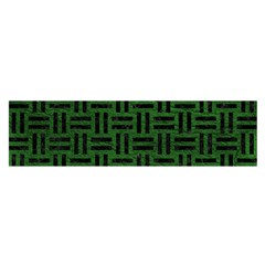 Woven1 Black Marble & Green Leather (r) Satin Scarf (oblong)