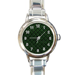 Woven2 Black Marble & Green Leather Round Italian Charm Watch