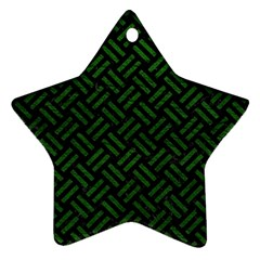 Woven2 Black Marble & Green Leather Ornament (star)
