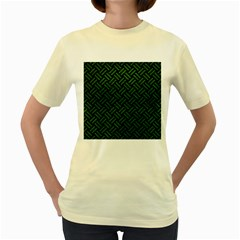 Woven2 Black Marble & Green Leather Women s Yellow T Shirt