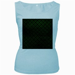 Woven2 Black Marble & Green Leather Women s Baby Blue Tank Top