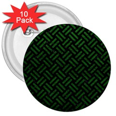 Woven2 Black Marble & Green Leather 3  Buttons (10 Pack)