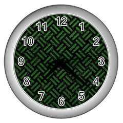 Woven2 Black Marble & Green Leather Wall Clocks (silver)