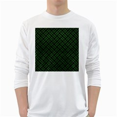 Woven2 Black Marble & Green Leather White Long Sleeve T Shirts