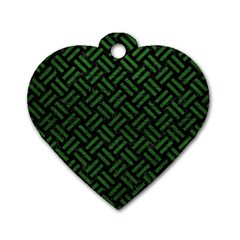 Woven2 Black Marble & Green Leather Dog Tag Heart (two Sides)