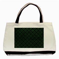 Woven2 Black Marble & Green Leather Basic Tote Bag (two Sides)