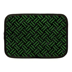 Woven2 Black Marble & Green Leather Netbook Case (medium)