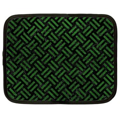 Woven2 Black Marble & Green Leather Netbook Case (large)