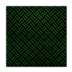 Woven2 Black Marble & Green Leather Face Towel