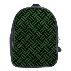 Woven2 Black Marble & Green Leather School Bag (large)