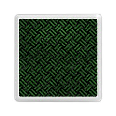 Woven2 Black Marble & Green Leather Memory Card Reader (square)