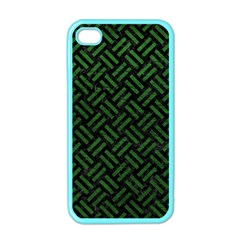 Woven2 Black Marble & Green Leather Apple Iphone 4 Case (color)