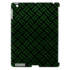 Woven2 Black Marble & Green Leather Apple Ipad 3/4 Hardshell Case (compatible With Smart Cover)