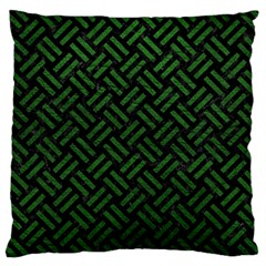Woven2 Black Marble & Green Leather Large Cushion Case (one Side)