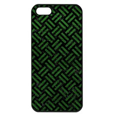 Woven2 Black Marble & Green Leather Apple Iphone 5 Seamless Case (black)
