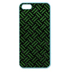 Woven2 Black Marble & Green Leather Apple Seamless Iphone 5 Case (color)