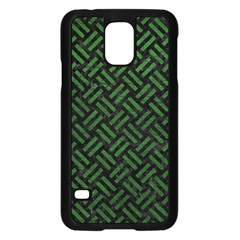 Woven2 Black Marble & Green Leather Samsung Galaxy S5 Case (black)