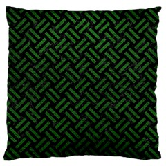 Woven2 Black Marble & Green Leather Standard Flano Cushion Case (two Sides)