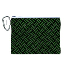 Woven2 Black Marble & Green Leather Canvas Cosmetic Bag (l)