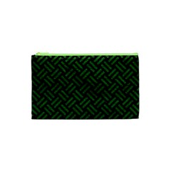 Woven2 Black Marble & Green Leather Cosmetic Bag (xs)