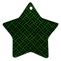 Woven2 Black Marble & Green Leather (r) Ornament (star)