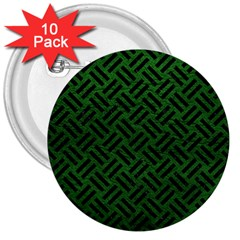 Woven2 Black Marble & Green Leather (r) 3  Buttons (10 Pack)