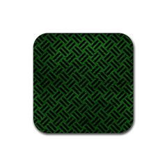 Woven2 Black Marble & Green Leather (r) Rubber Coaster (square)
